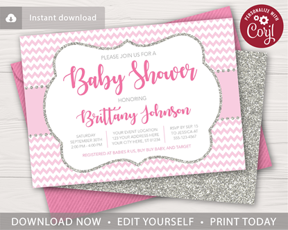 Picture of Pink and Silver Baby Shower Invitation