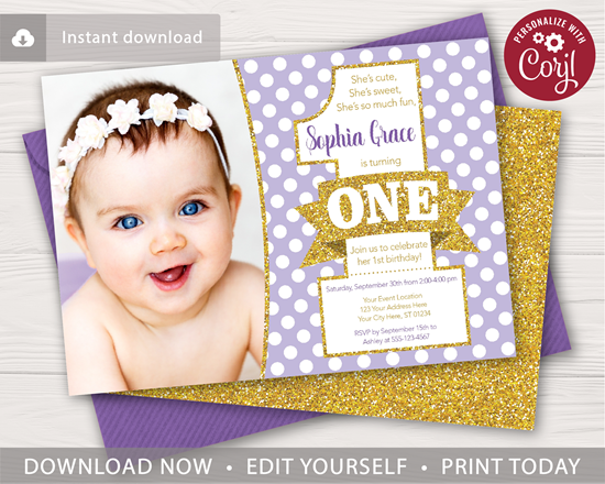 Picture of Purple and Gold 1st Birthday Invitation