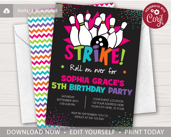 Picture of Bowling Birthday Invitation