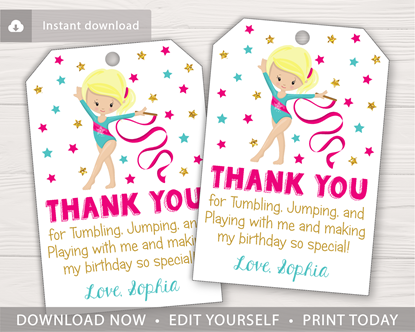Picture of Gymnastics Birthday Favor Tags in Hot Pink and Gold