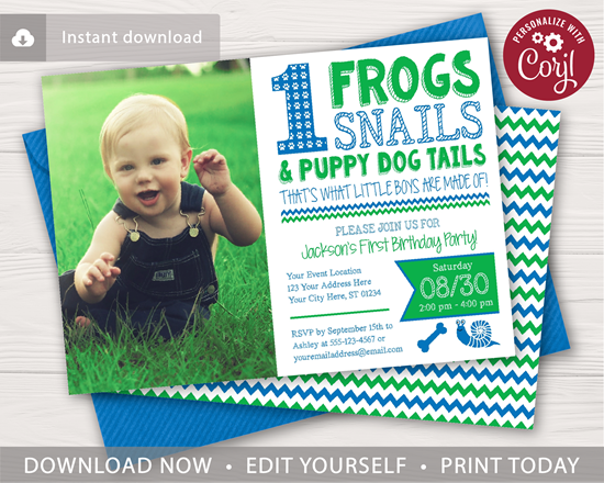 Picture of Frogs Snails & Puppy Dog Tails 1st Birthday Invitation