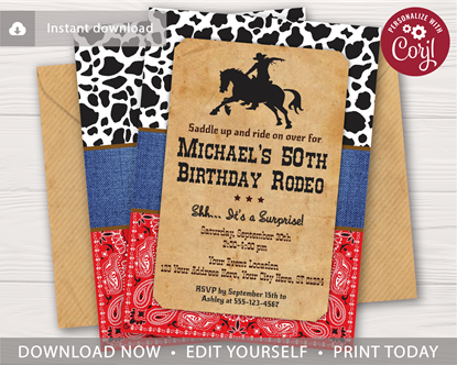 Picture of Western 50th Birthday Invitation