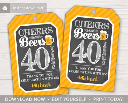 Picture of Cheers and Beers to 40 Years Birthday Favor Tags
