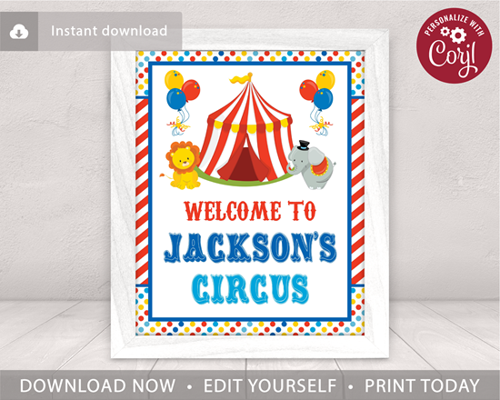 Picture of Circus Birthday Party Sign | Welcome Sign
