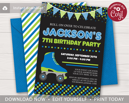 Picture of Roller Skating Birthday Invitation