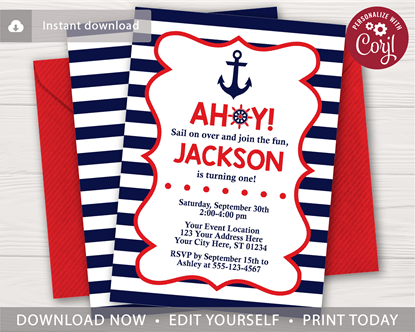 Picture of Nautical Birthday Invitation in Navy and Red