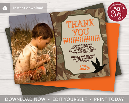 Picture of Duck Hunting Birthday Thank You Card with Photo