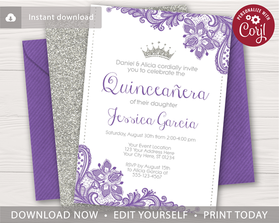 Picture of Quinceanera Birthday Invitation with Purple and Silver Glitter
