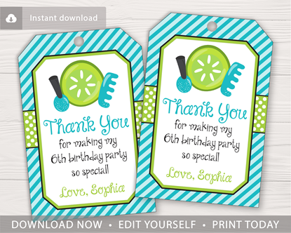 Picture of Spa Party Birthday Favor Tags