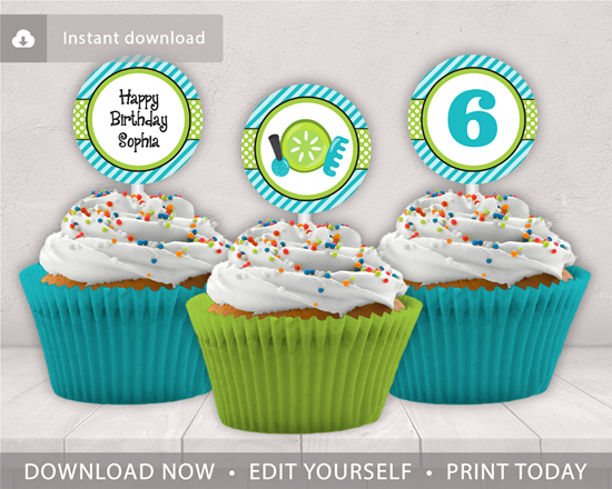 Picture of Spa Party Birthday Cupcake Toppers