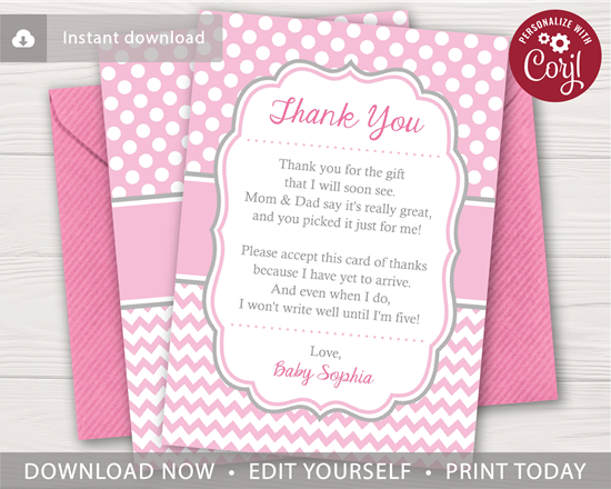 Picture of Baby Shower Thank You Card for Girls