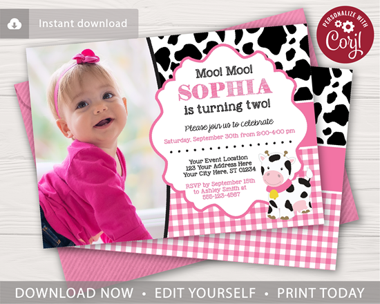 Picture of Cow Birthday Invitation in Pink with Photo