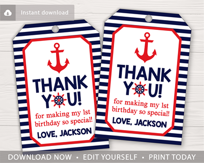 Picture of Nautical Birthday Favor Tags