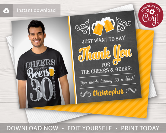 Picture of Cheers and Beers Thank You Card with Photo