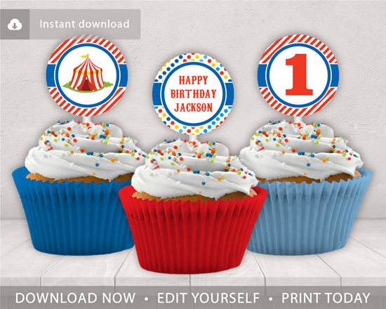 Picture of Circus Birthday Cupcake Toppers