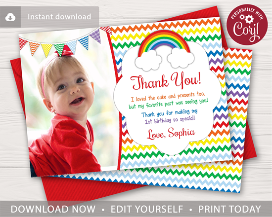 Rainbow Birthday Thank You Card With