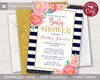 Picture of Floral Baby Shower Invitation in Navy and Gold
