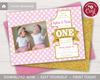 Picture of Pink and Gold Twins First Birthday Invitation with Photo