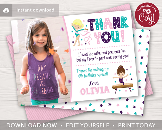 Picture of Gymnastics Birthday Thank You Card with Photo
