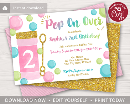 Picture of Bubble Birthday Invitation