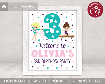 Picture of Gymnastics Birthday Party Sign