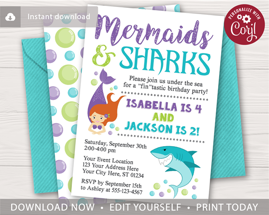 Picture of Sharks and Mermaids Birthday Invitation