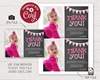 Picture of Pink First Birthday Thank You Card with Photo