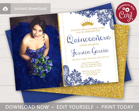 Picture of Quinceanera Birthday Invitation in Royal Blue Lace and Gold Glitter with Photo