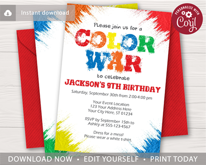 Picture of Color War Birthday Invitation