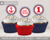 Picture of Nautical Birthday Cupcake Toppers