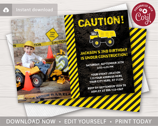 Picture of Construction Birthday Invitation with Photo