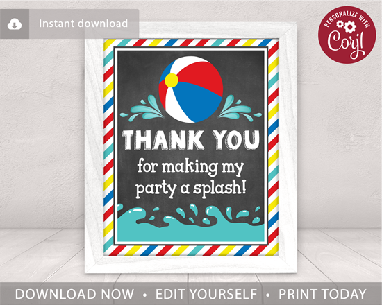 Picture of Beach Ball Birthday Party Sign for a Pool Party