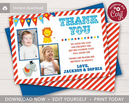 Picture of Circus Birthday Thank You Card with Photos