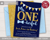 Picture of Mr. ONEderful Birthday Invitation in Navy, Gold, and Baby Blue