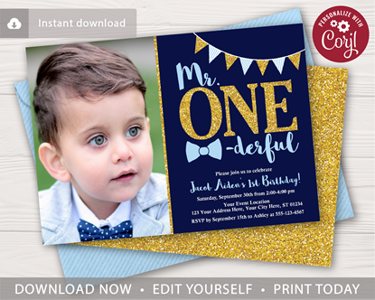 Picture of Mr. ONEderful Birthday Invitation with Photo in Navy and Gold
