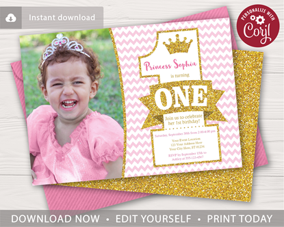 Picture of Princess 1st Birthday Invitation with Photo