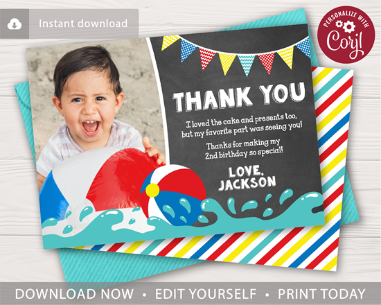 Picture of Beach Ball Birthday Thank You Card with Photo for a Pool Party