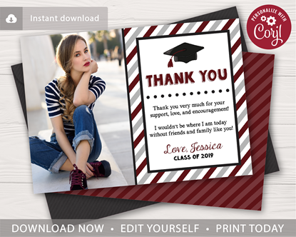 Picture of Graduation Thank You Card with Photo in Maroon