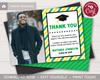Picture of Graduation Thank You Card with Photo in Green and Yellow