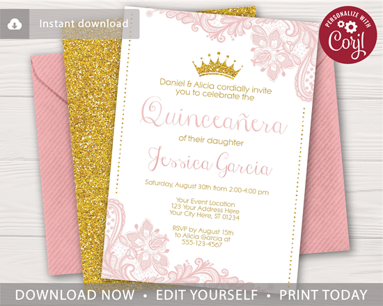 Picture of Quinceanera Birthday Invitation with Blush Pink Lace and Gold Glitter