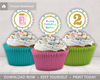 Picture of Bubble Birthday Cupcake Toppers