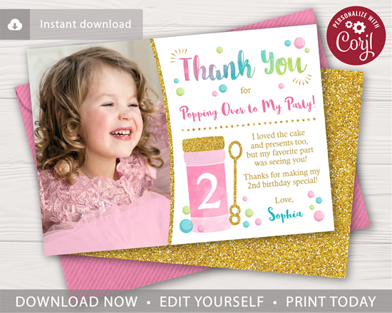 Picture of Bubble Birthday Thank You Card with Photo
