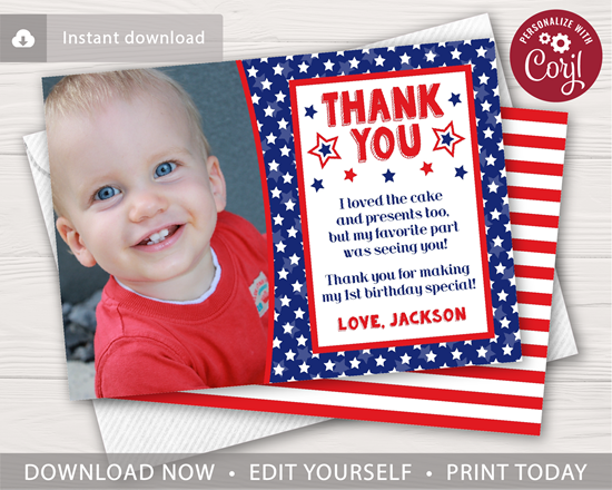 Picture of 4th of July Birthday Thank You Card with Photo