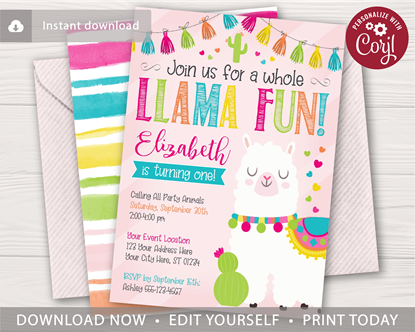 Picture of Llama Birthday Invitation