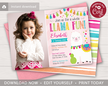 Picture of Llama Birthday Invitation with Photo