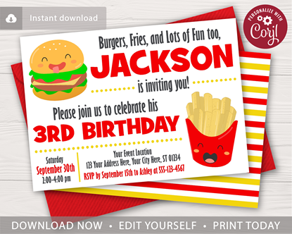Picture of Burger and Fries Birthday Invitation