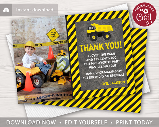 Picture of Construction Birthday Thank You Card