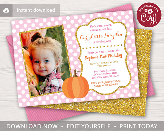 Picture of Pumpkin Birthday Invitation