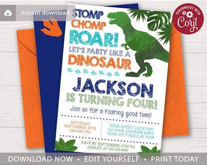 Picture of Dinosaur Birthday Invitation