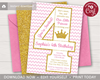 Picture of Princess 4th Birthday Invitation